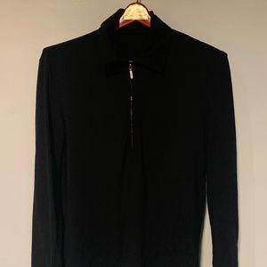 Theory Quarter Zip Black Long-Sleeved Tee - S